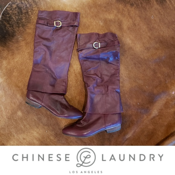 Shoes - Chinese Laundry leather maroon knee high boots